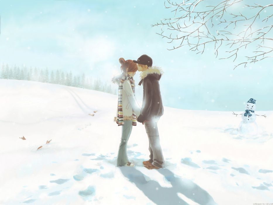bokura ga ita hug kiss snow takahashi nanami yano motoharu wallpaper