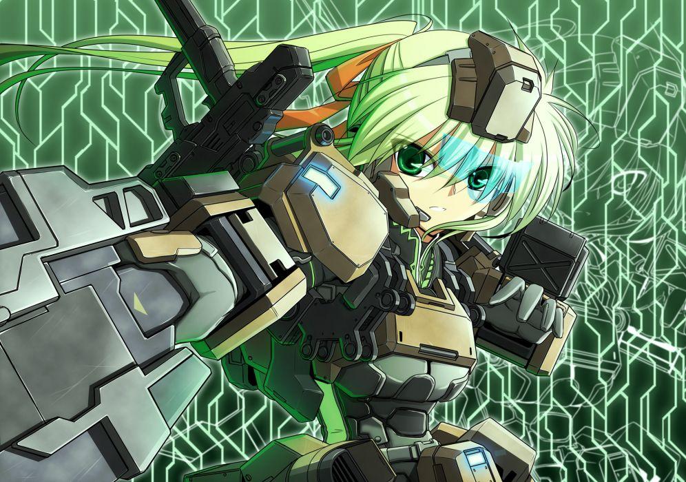 border break bow green eyes green hair mechagirl ponytail ribbons steel high sword weapon wallpaper