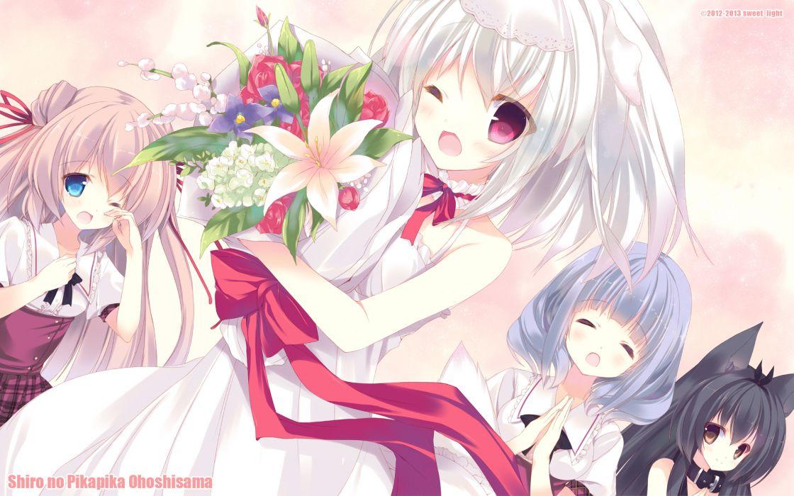 dress flowers light p19 shiro no pikapika ohoshi-sama wedding dress wink wallpaper