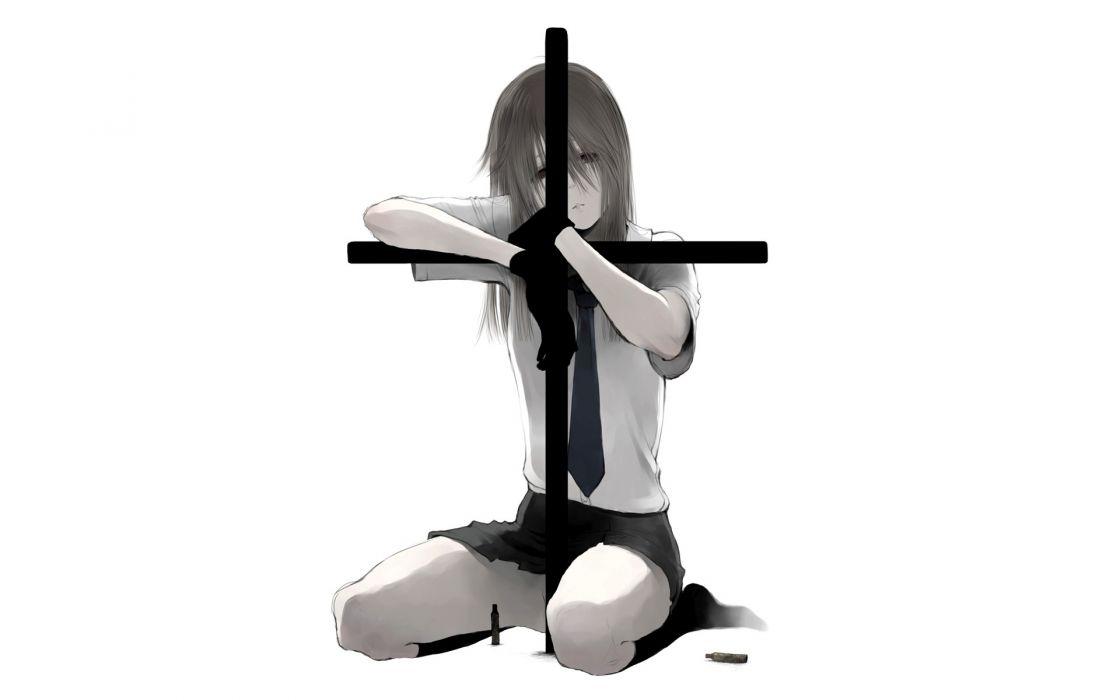 air-bird chinatsu (jormungand) cross gloves jormungand kneehighs long hair monochrome nopan skirt tie white wallpaper