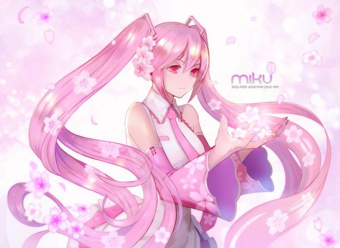 astarone cherry blossoms hatsune miku long hair petals pink eyes pink hair sakura miku twintails vocaloid wallpaper