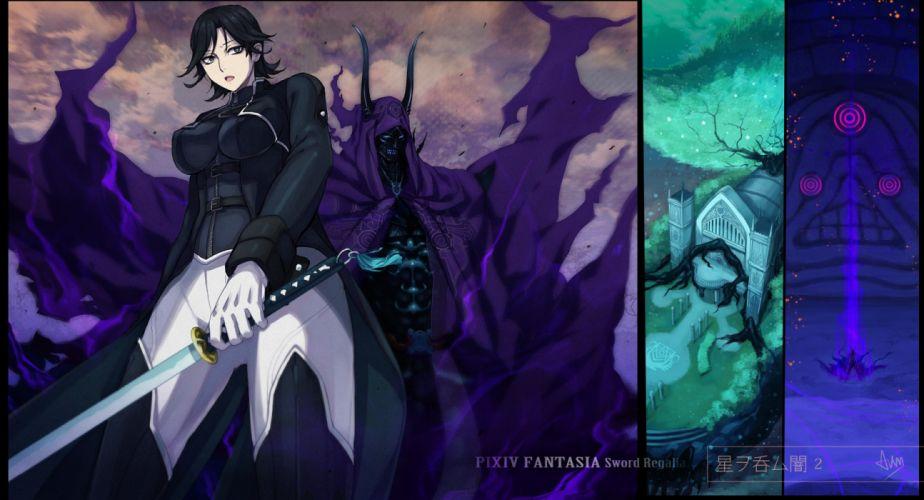 aym demon gloves pixiv fantasia sword weapon wallpaper
