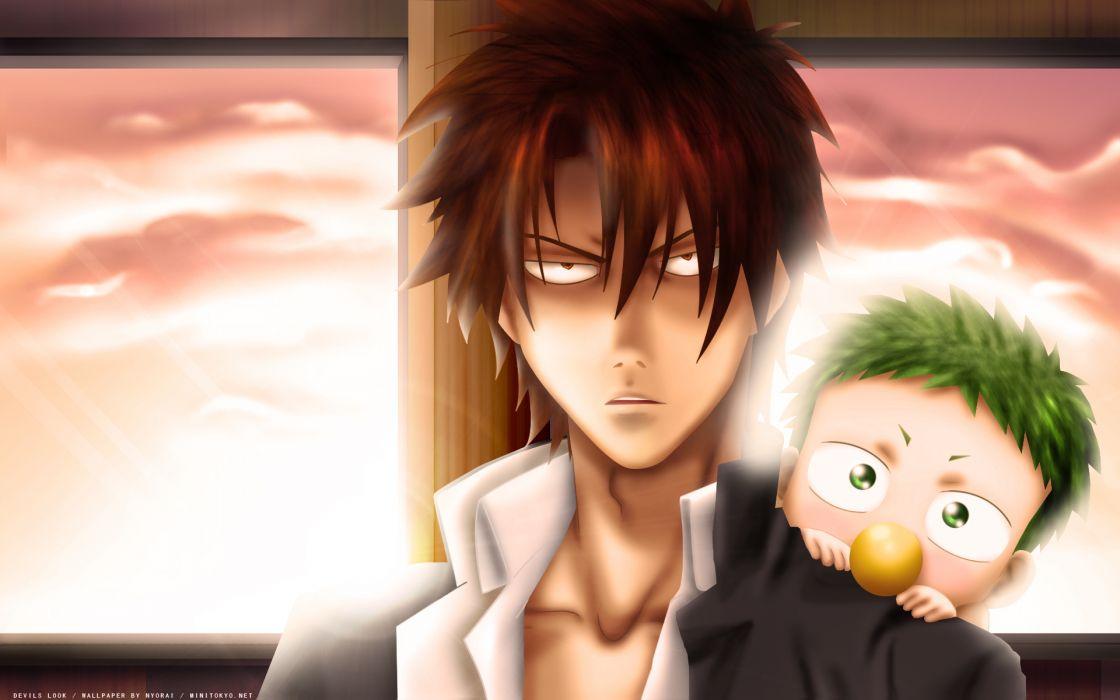 baby be'el beelzebub (manga) brown hair green hair male nyorai oga tatsumi sunset wallpaper