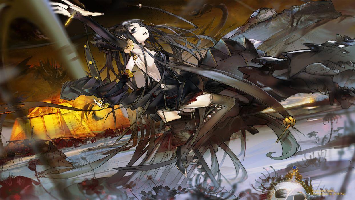 black eyes black hair dragon el-zheng fate apocrypha fate stay night semiramis stockings thighhighs wallpaper