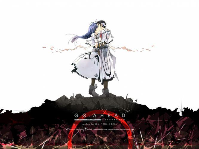 black hair blue hair bodysuit kiss long hair owari no chronicle sayama mikoto shinjou sadagiri short hair wallpaper