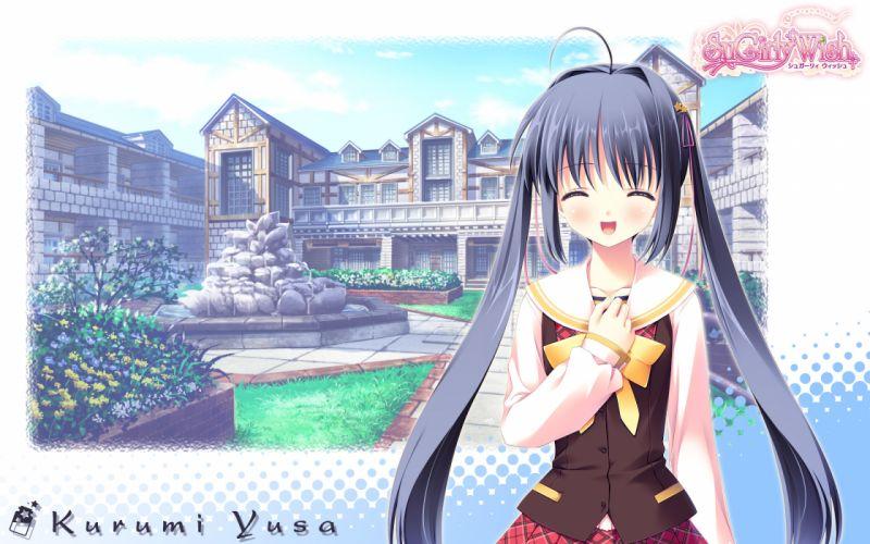 black hair long hair seifuku sugirly wish twintails yusa kurumi wallpaper
