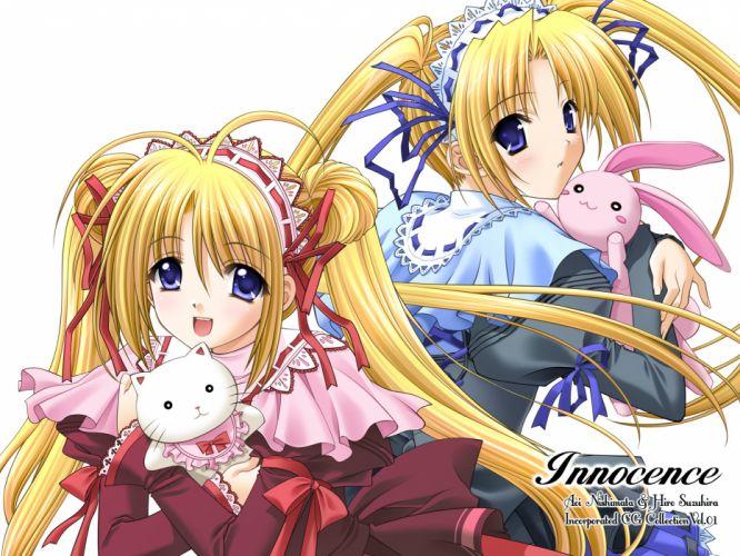 blonde hair blue eyes bunny headband innocence long hair nishimata aoi ribbons suzuhira hiro twins twintails white wallpaper