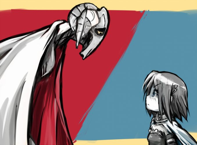 blue eyes blush cape crossover general grievous hangaku mahou shoujo madoka magica miki sayaka short hair star wars wallpaper