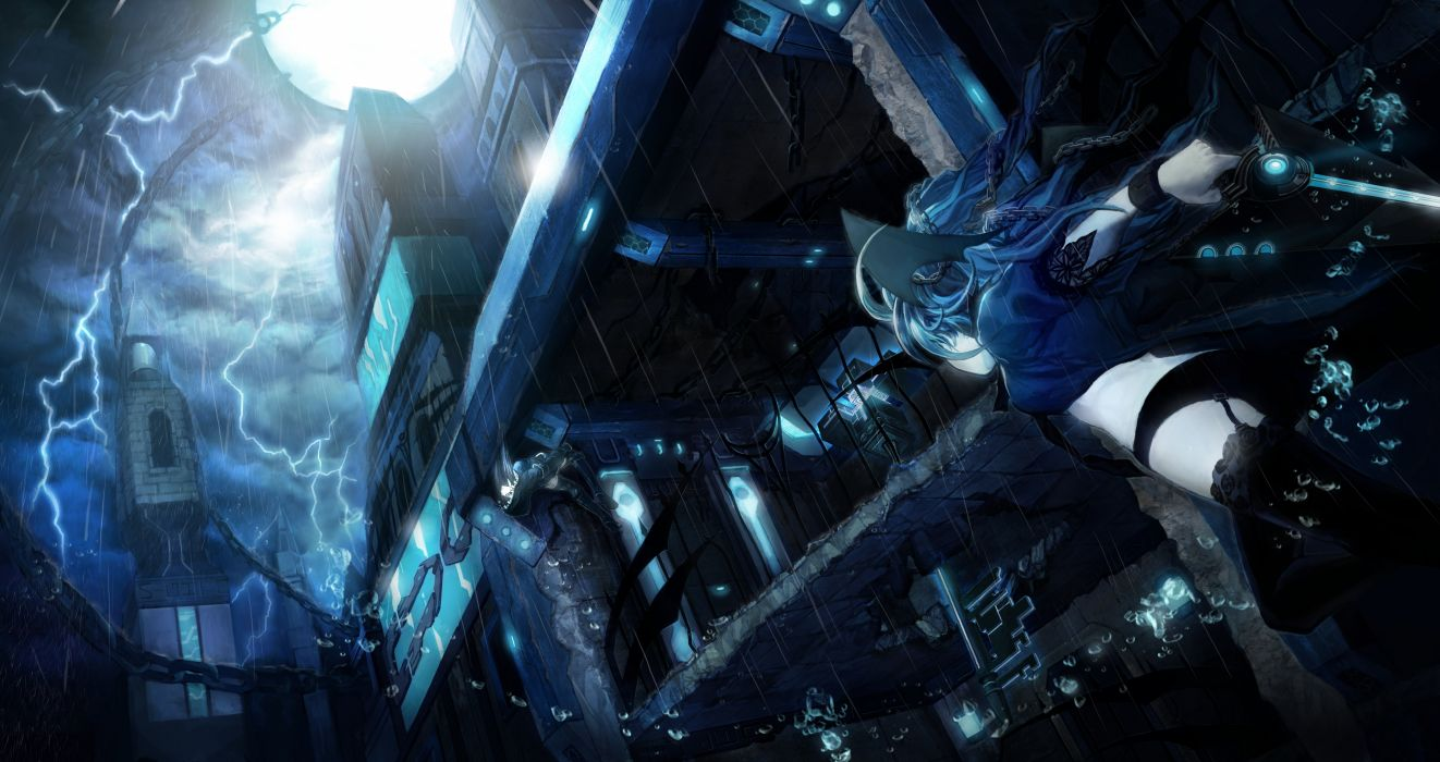 blue hair boots lilith (s4 league) long hair ophelia (s4 league) rain s4 league sky thighhighs weapon wallpaper