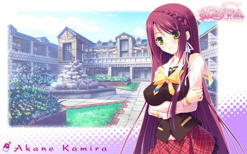 breast hold kamira akane long hair seifuku sugirly wish yellow eyes wallpaper