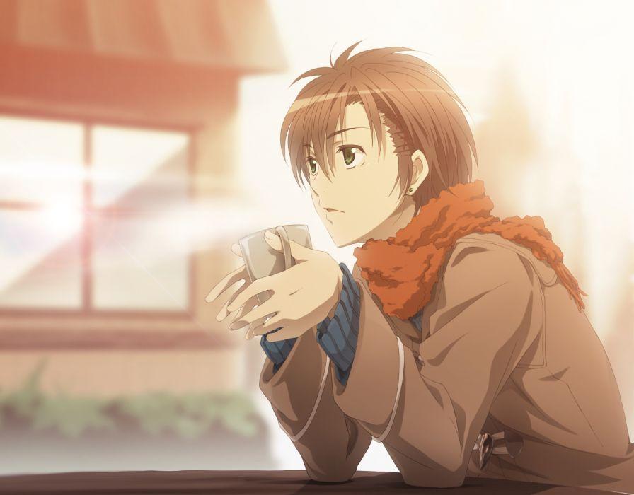 brown hair green eyes hakumai (jamaika) male scarf short hair takigawa yoshino zetsuen no tempest wallpaper