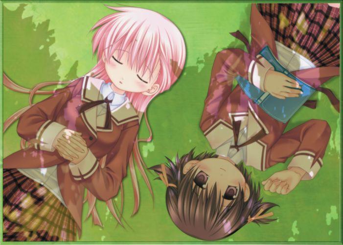 brown hair pink hair sanarara seifuku shiina nozomi yuriko wallpaper