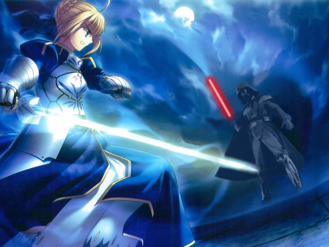 darth vader fate stay night photoshop saber star wars wallpaper