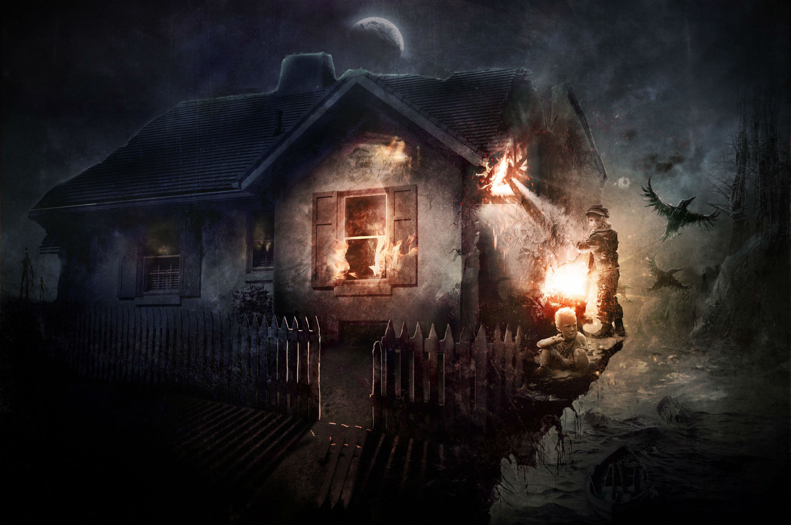 Gothic Houses Fire Fence Fantasy Dark Wallpaper 2560x1700 78439