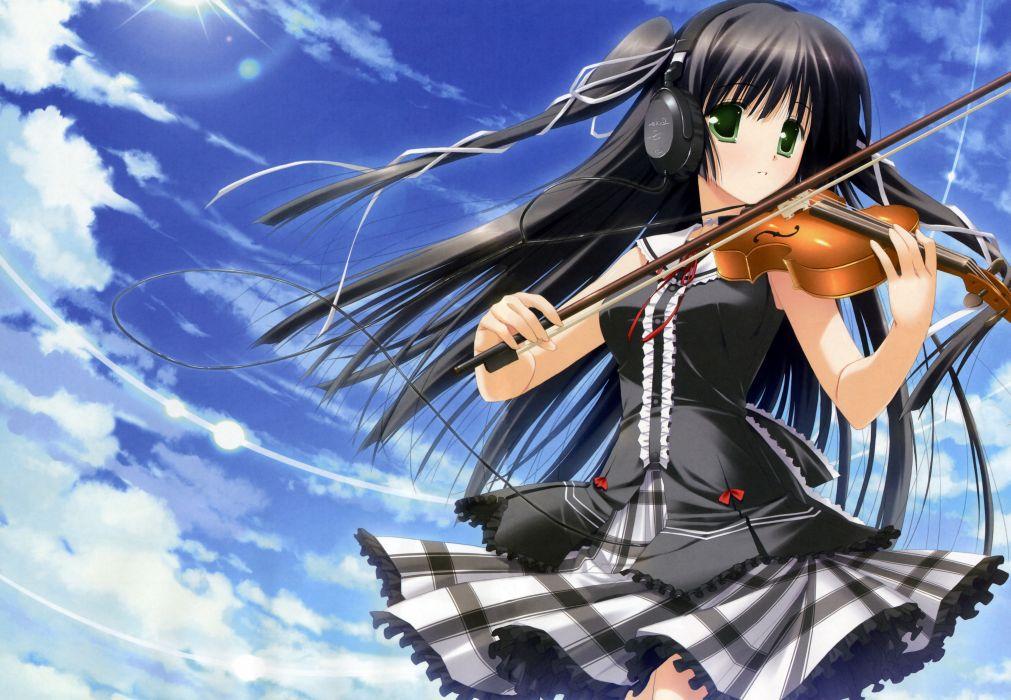 headphones instrument minna no uta sakaki maki scan skirt sky violin wallpaper