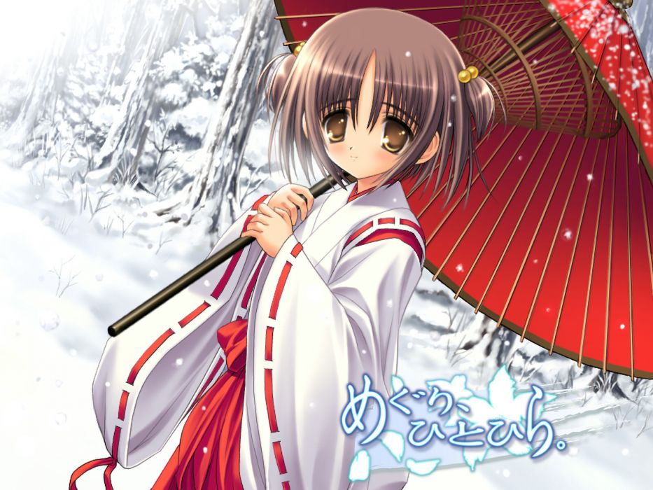 japanese clothes koma asou meguri hitohira miko snow umbrella wallpaper