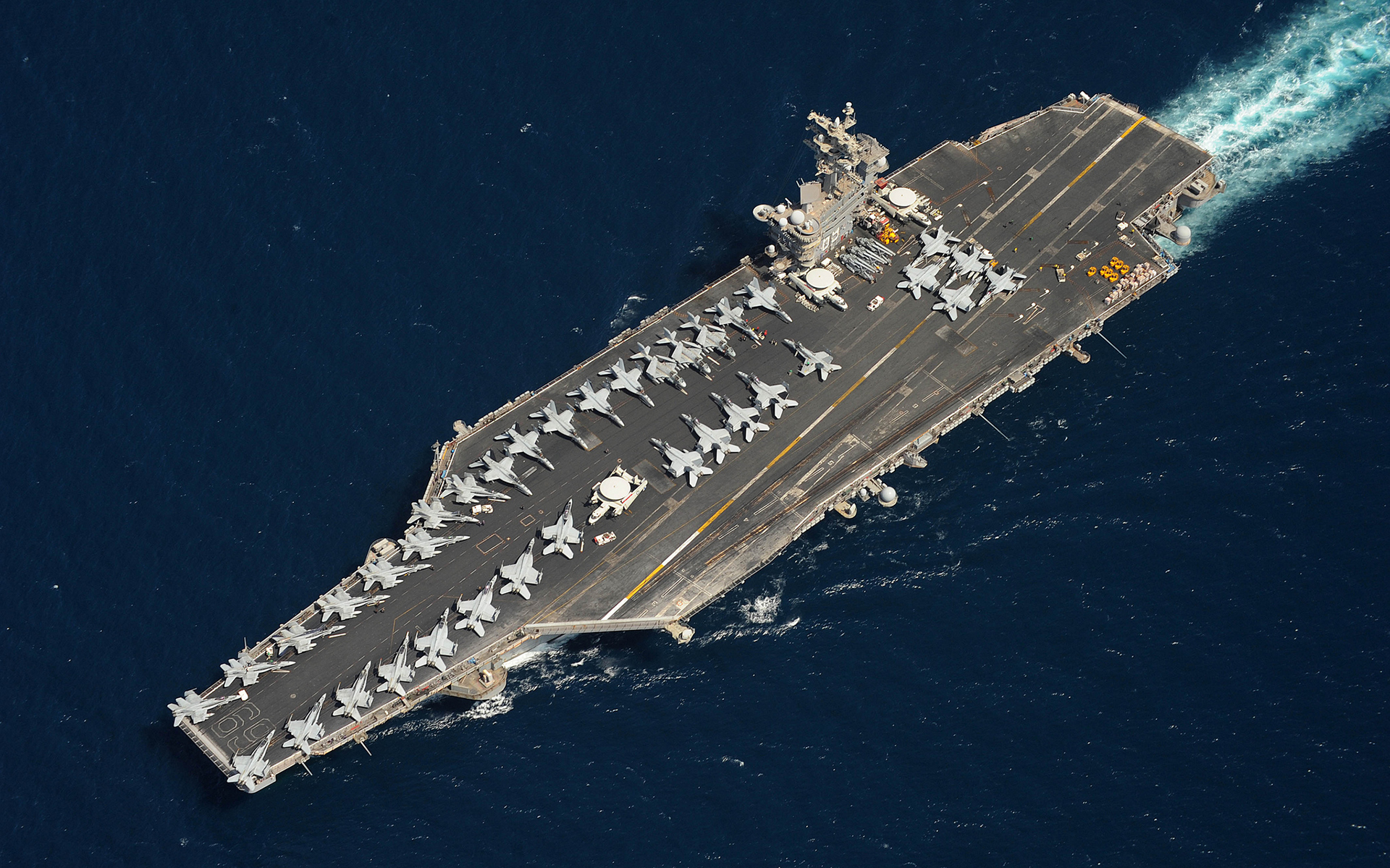 Aircraft carrier deck top view