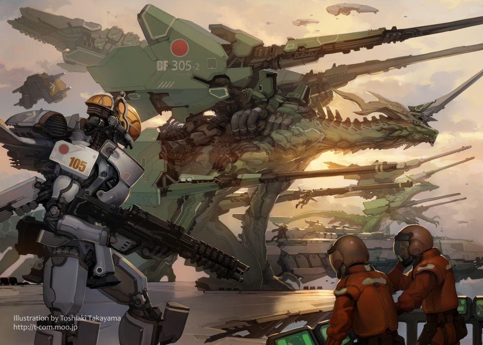 aircraft dragon gun mecha original takayama toshiaki weapon wallpaper