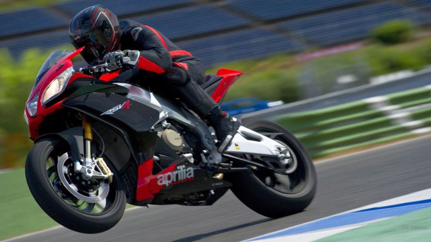 Aprilia RSV4 Sportbike Wheelie Track Race Track wallpaper