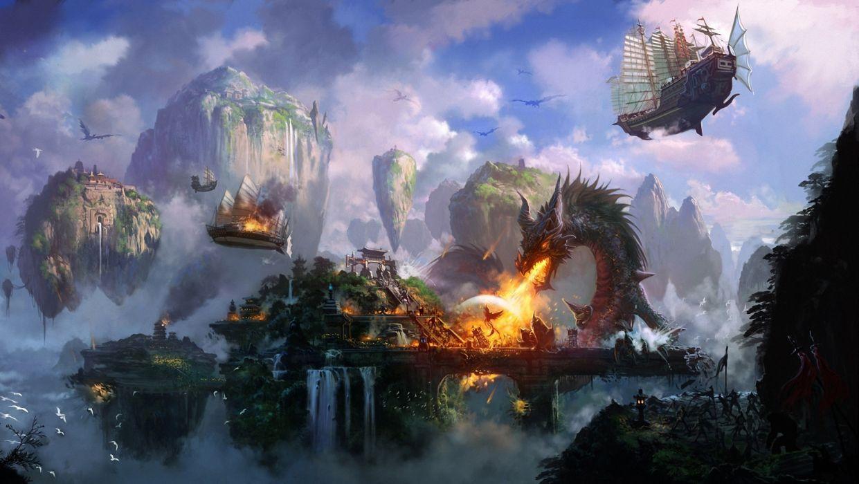 Art Liang xing city battle dragon fire attack bird ships flying mountains cliffs waterfalls a temple wallpaper