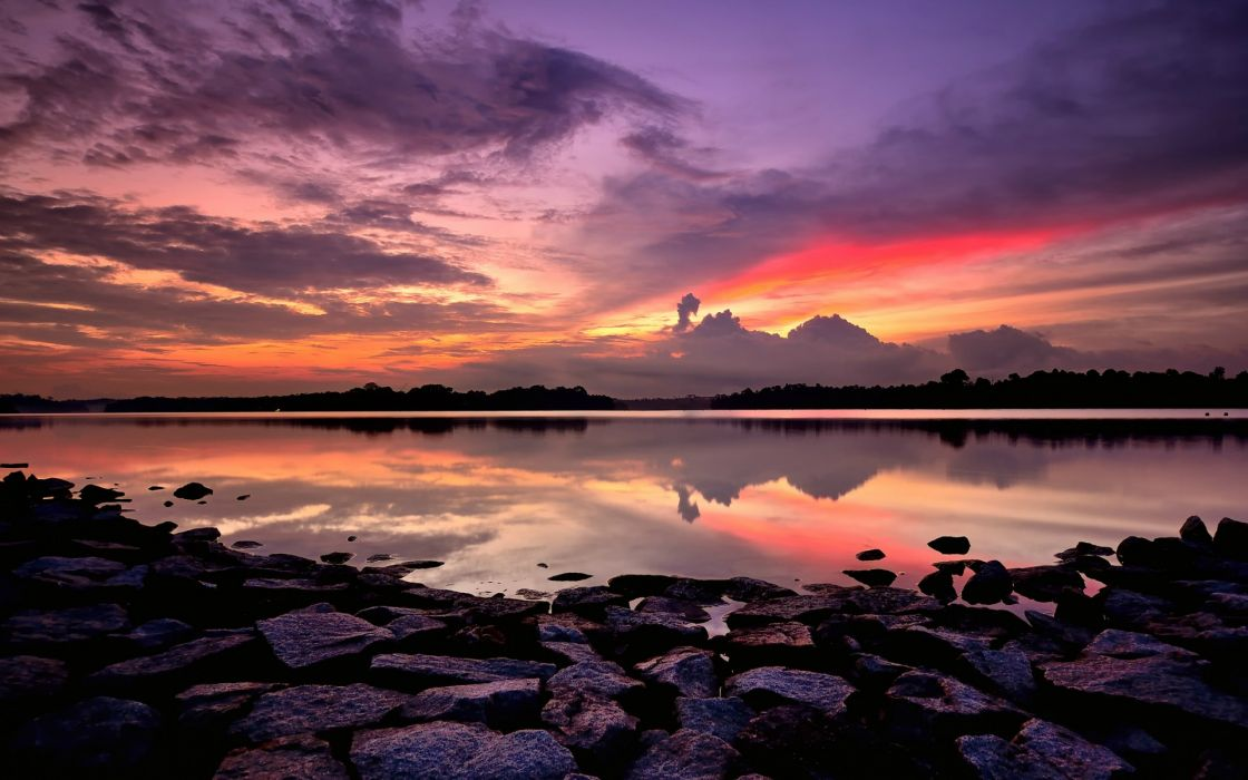 bay beach rocks night orange bright sunset lilac sky clouds wallpaper