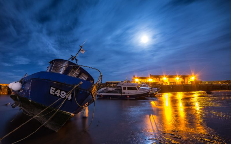 Beached Boat Night Moonlight Timelapse Lights wallpaper