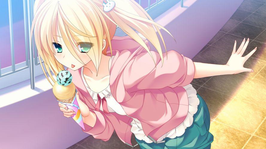 blonde hair game cg green eyes ice cream lovera bride mutou kurihito tagme (character) wallpaper