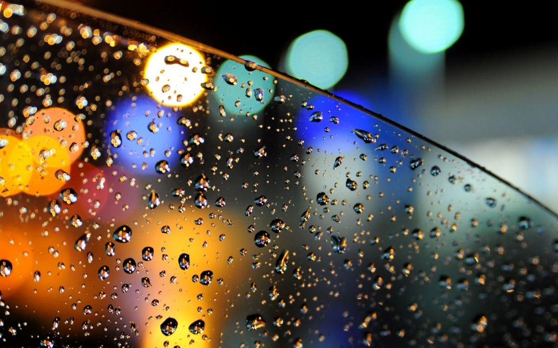 Bokeh Lights Glass Car Drops Water Rain Wallpaper