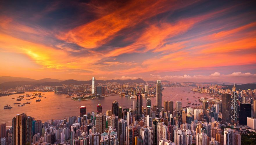 Buildings Skyscrapers Sunset Clouds Aerial Hong Kong wallpaper