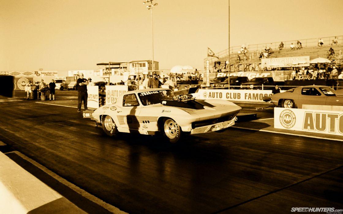 Chevrolet Sepia Corvette Drag Race Race Car Drag Strip Launch Wheelie wallpaper