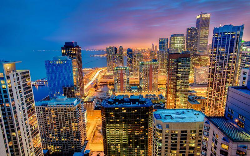 Chicago Illinois city night skyscrapers buildings lighting light wallpaper