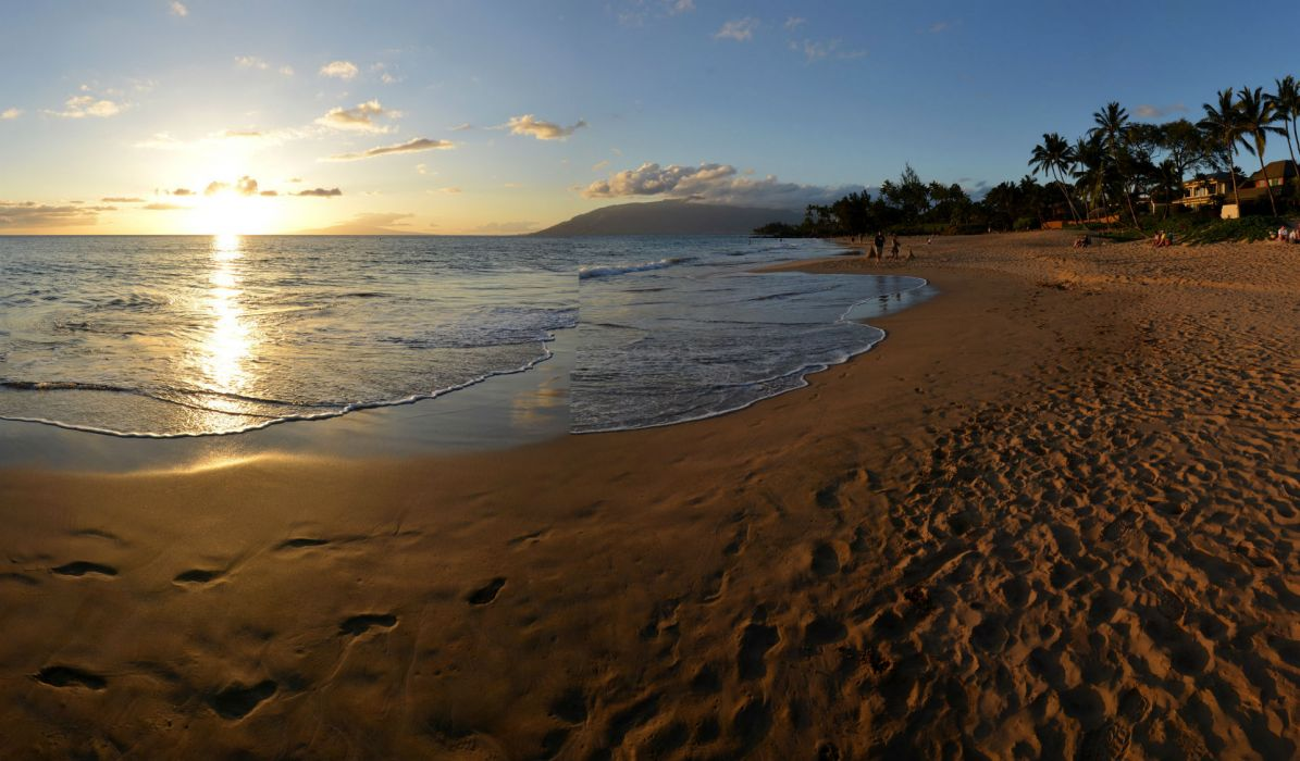 Coast Sea Scenery USA Maui Beach Sand Horizon Hawaii Nature wallpaper