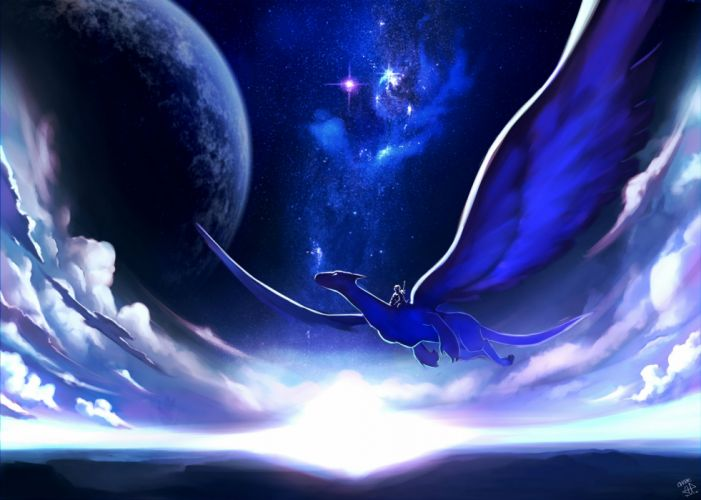 Dragons Sky Planets Clouds Wings Flight Fantasy wallpaper
