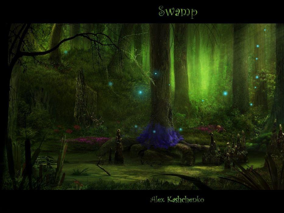 fantasy art digital art swamp matte Abstract Fantasy wallpaper