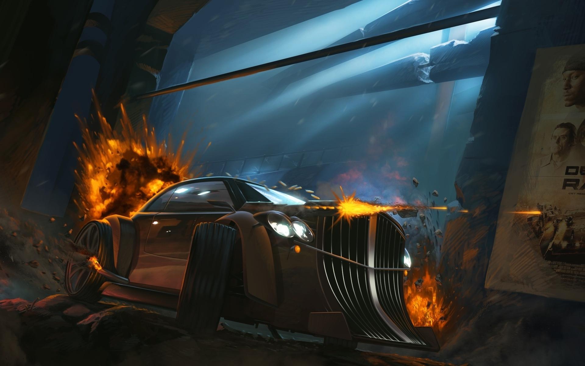 Fire Art Explosions Car Death Race Cars Vehicles Wallpaper