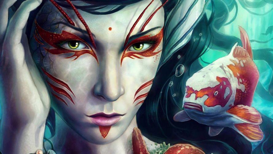 Fish Mermaid Face Drawing wallpaper