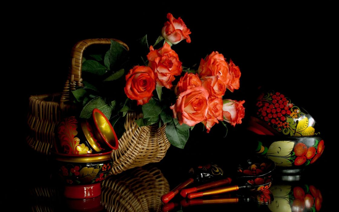 flowers wooden spoons dishes still life wallpaper