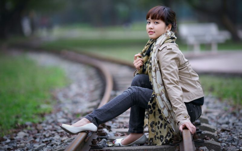 Girl Asian railroad wallpaper