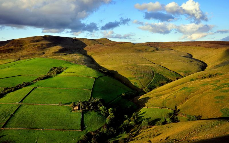 hills fields view from the top landscape wallpaper