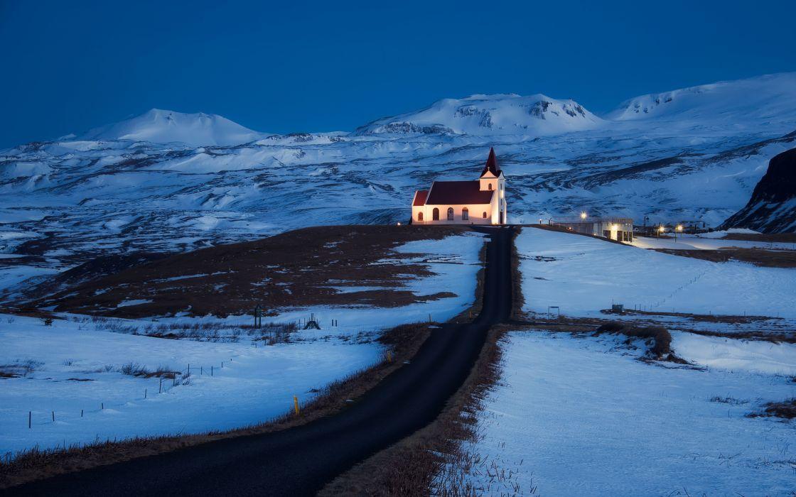 Iceland church light lighting road hills mountains snow blue sky night wallpaper