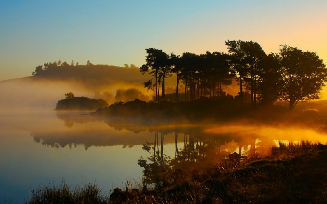 landscapes forest Nature Environment lakes sunrise fog reflection wallpaper