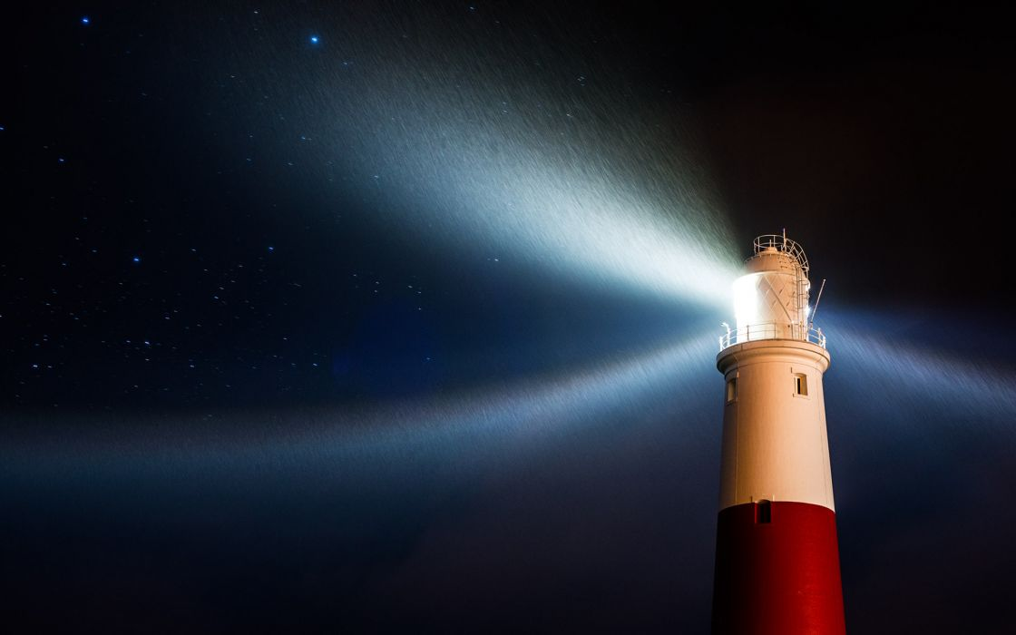 Lighthouse Night Light Stars Rain wallpaper | 1920x1200 ...