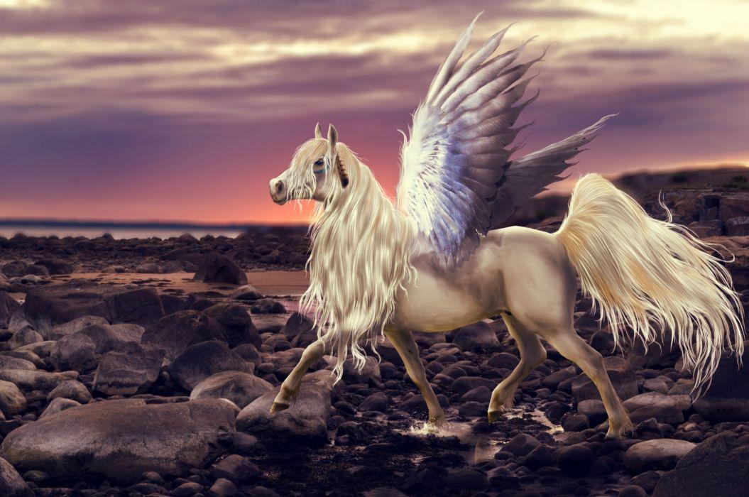 Magical Animals Stones Horses Pegasus Wings Fantasy