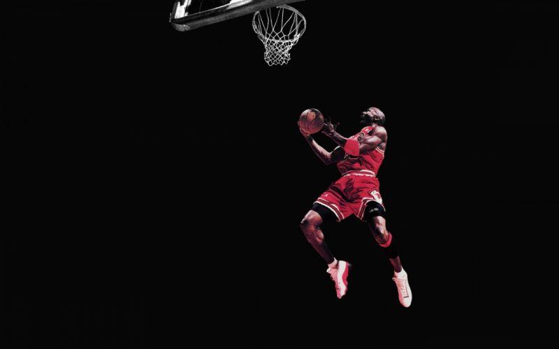 Michael Jordan Chicago Bulls Basketball Jump Black wallpaper