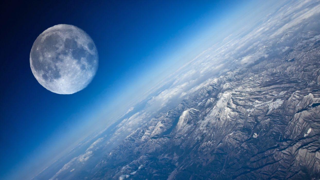 Moon Aerial Landscape Mountains wallpaper