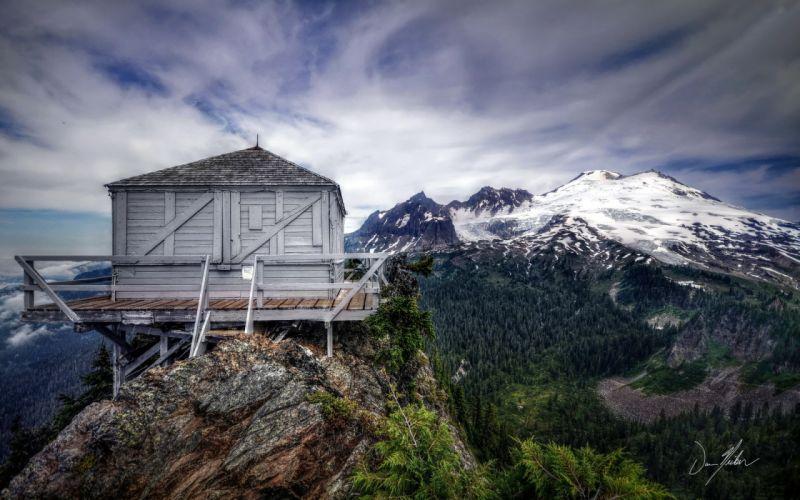 mountains house landscape wallpaper