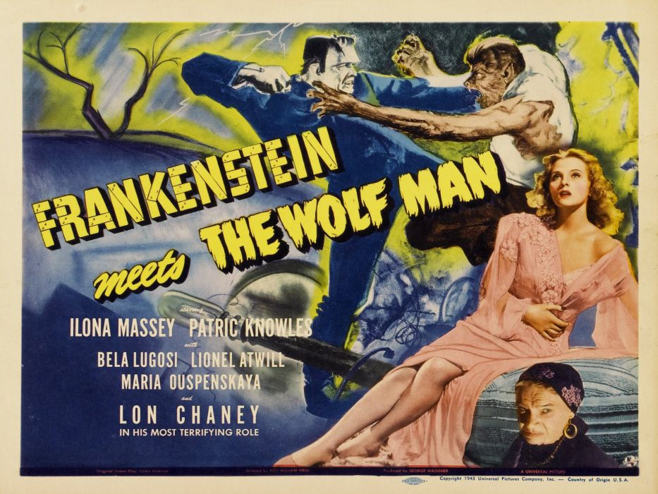 Movie Poster Frankenstein The Wolf Man wallpaper