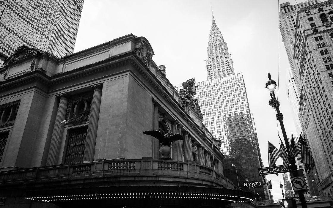 New York Buildings Skyscrapers BW wallpaper