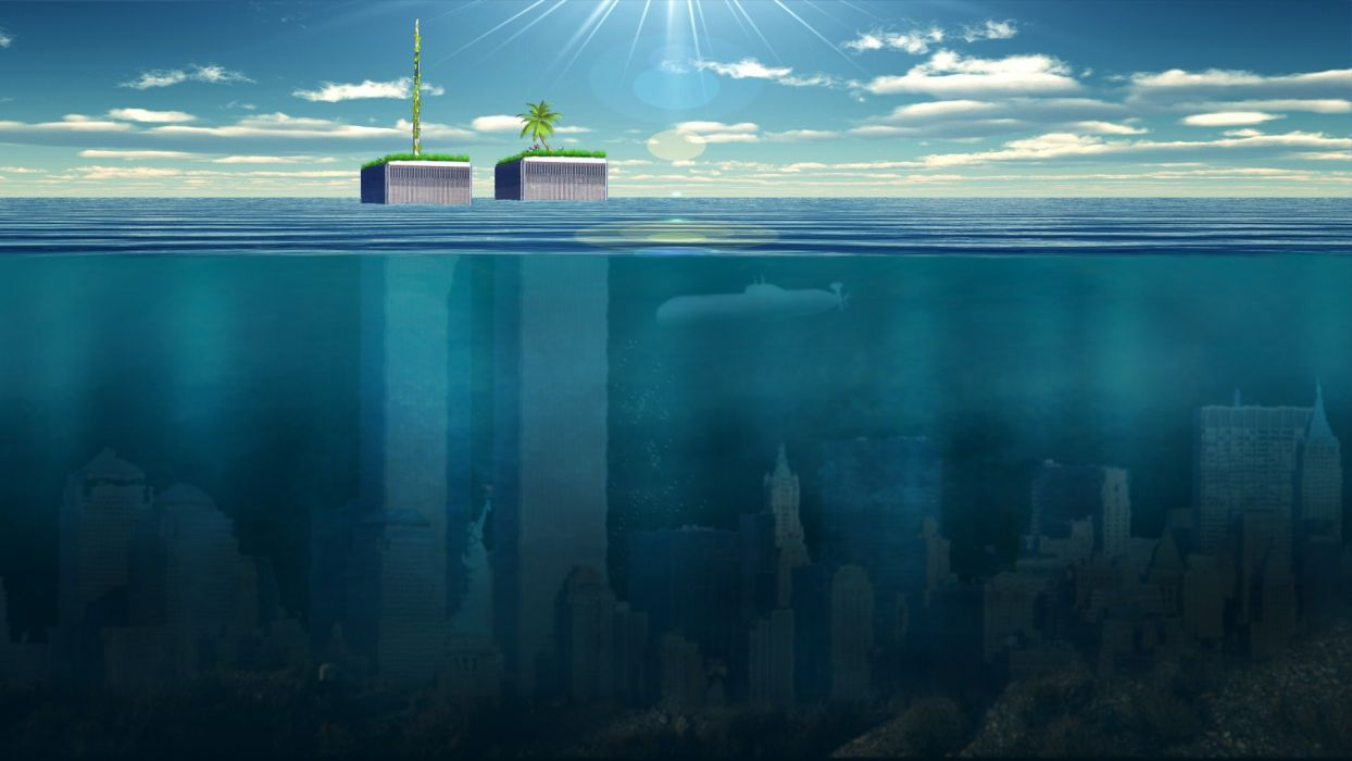 New York Buildings Skyscrapers Underwater Ocean Wallpaper