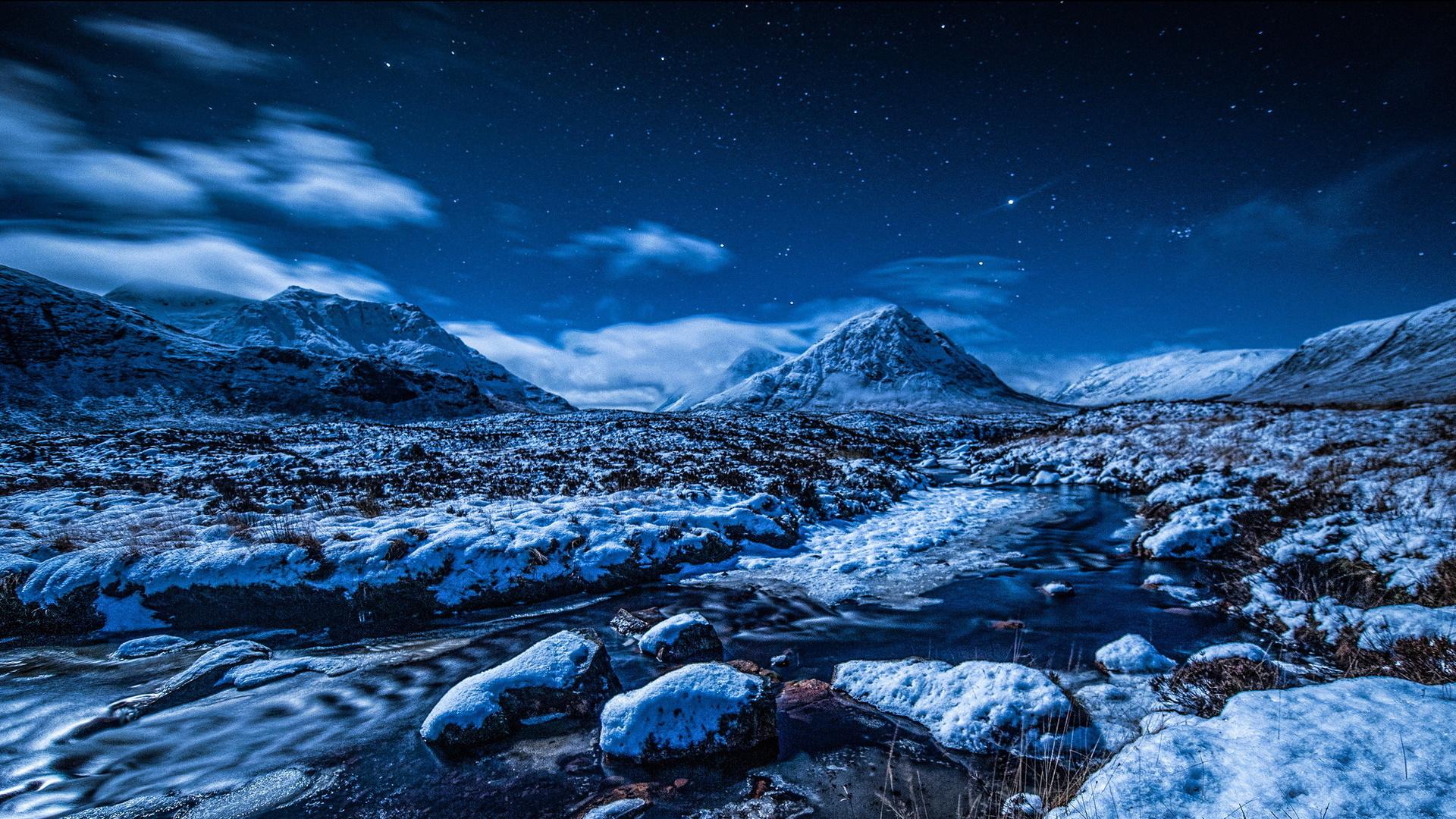 Night sky stars mountains stream snow winter wallpaper ...